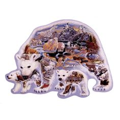 """""""Land of the Polar Bears"""" - This shaped puzzle is perfect for #Christmas with it's unique shape and #Whimsy pieces it can be quite the challenge!"""