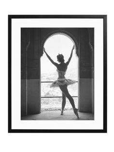 Margot Fonteyn:  English ballerina Margot Fonteyn (1919 - 1991), at a window, in Granada, Spain Photograph by Baron, taken on January 1, 1953 Hand printed on Fuji crystal archive paper Professionally framed and mounted to order with acid free gallery mats and black solid wood frames Numbered and certified on the reverse and limited to 495 copies worldwide Brand: Sonic Editions
