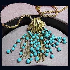Necklaces - Photo 2: Vintage Marcel Boucher faux turquoise cascade necklace. Signed MARCEL BOUCHER