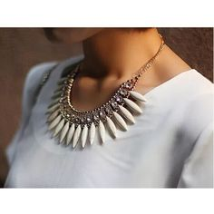 [OS] bohemian white turquoise necklace White turquoise with CZ stones make this the perfect statement necklace! Wear with any outfit to up your style game! Gold plated. New in packaging  NOT LISTED BRAND  ASOS Jewelry Necklaces