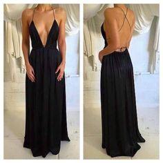 Deep V-Neck Sexy Black Chiffon Prom Dresses, Spaghetti Backless Prom Dresses