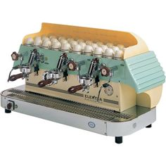 Elektra Barlume Classic Series Commercial Espresso Machine - semi-automatic, 3G, yellow / green