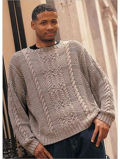 Men's pullover with cables