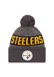 New Era Pitt Steelers Grey Team Youth Knit Hat