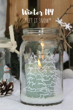 Creative Friday No. 3 - Decorate glasses for winter - cover yourself, geburtstag winterlich Creative Friday No. 3 - Decorate glasses for winter - cover yourself All Things Christmas, Winter Christmas, Christmas Crafts, Christmas Decorations, Diy Candles, Candle Jars, Decor Crafts, Diy And Crafts, Advent Calenders
