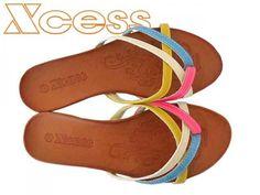 XCESS ΠΑΝΤΟΦΛΕΣ ΜΕ ΚΙΤΡΙΝΑ, ΜΠΕΖ, ΡΟΖ ΚΑΙ ΓΑΛΑΖΙΑ ΛΟΥΡΑΚΙΑ #flat #colours #shoes #greece #greek