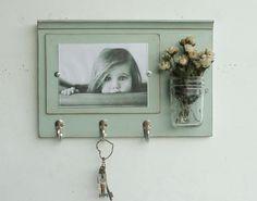 Shabby Chic Wood Picture Frame...Key Organizer....Mason Jar Shelf..Made to Order