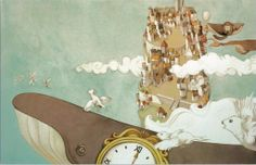 "Simona Cordero illustration for ""Le Magicien du Temps""."