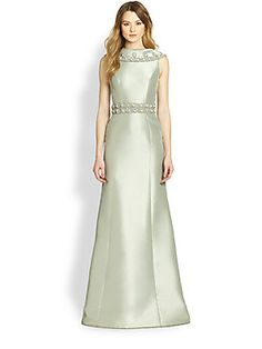 Theia Folded Collar Satin Gown (Celadon) the back of this dress is beautiful 995.00...Tonal beading and embroidery details add lush texture to the folded collar and waistline of this luminous satin gown.