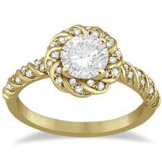 I really like this one too!! Diamond Halo Rope Engagement Ring Setting 14k Yellow Gold