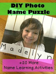 Photo Name Puzzle Activity for Preschool and Kindergarten Preschool Names, Preschool Literacy, Literacy Activities, In Kindergarten, Toddler Preschool, Learning To Write, Early Learning, Tot School, Back To School