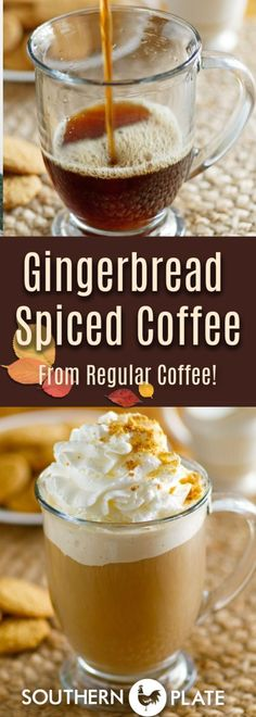 Gingerbread Spiced Coffee - using your regular coffee and spices from your cabinet! - Southern Plate Gingerbread Spiced Coffee - using your regular coffee and spices from your cabinet! Coffee Drink Recipes, Tea Recipes, Apple Recipes, Coffee Drinks, Fall Recipes, Spicy Coffee Recipe, Thanksgiving Recipes, Breakfast Recipes, Tea Drinks