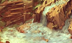 Low-Poly rocks and water.