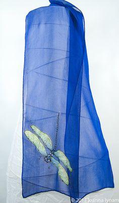 """Dragonfly Silk Scarf- Hand painted silk scarves.  Blue silk Chiffon. 8"""" x 52"""" handmade silk scarf. handpainted silk scarf."""