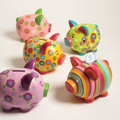 Assorted Hand-Painted Ceramic Piggy Bank