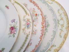 Vintage Mismatched China Dinner Plates  Set of 5 by LBFCollections, $45.00