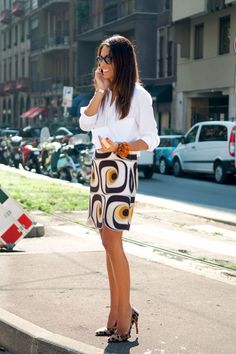 Fav spring look: wild pattern straight skirt + white shirt + classic pumps....lots of great retro & mod patterns now, easy sewing