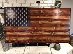 Shop now for Rustic Wooden American Flags with FREE Delivery - Charred - Military - Rustic Decor - Patriotic - Veteran - The Old Glory Rustic Sign Co. Rustic Wooden American Flag, American Flag Pallet, American Flag Decor, Diy Wood Signs, Custom Wood Signs, Rustic Signs, Fall Wood Crafts, Flag Ideas, Diy Outdoor Bar