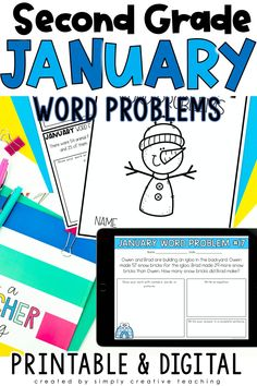 Grab this set of 24 digital and printable January math word problems for second grade. These engaging addition and subtraction word problems for numbers within 100 are perfect for in-person or distance learning. Use these in Google Classroom, Seesaw, or print out books for your students! The word problem types included are joining, separating, and comparing with unknowns in all positions. Perfect for whole group, independent work, test prep and MORE! Get your 2nd  grade math word problems today!