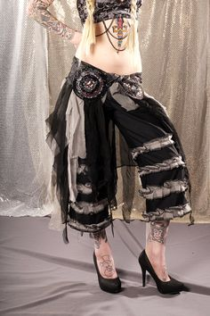 tribal fusion pants | Noir Belly Dance Pants Belt Skirt Set, tattered Gothic Tribal Fusion ...