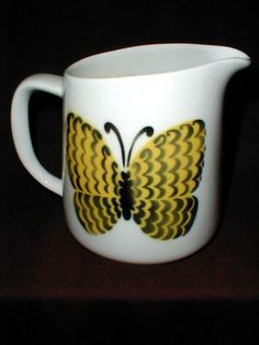 Arabia of Finland Mid Century Yellow Butterfly Pitcher | eBay