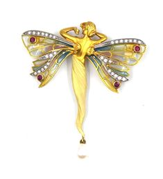 The pin features an ethereal stretching fairy with plique a jour enamel gossamer wings that are highlighted by settings of diamonds and rubies. A shimmering cultured pearl also elegantly hangs from the bottom of the fairy.   eBay!