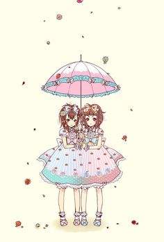 rain, rainy day, umbrella, parasol, dress, sisters, twins,
