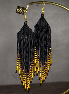 Best 12 Long, very beautiful and stylish earrings! The used Czech beads № Measurements: Length – in (excluding ear hooks) Width – in Materials: Metallic ear hooks Seed beads Nylon Thread Shipping from Ukraine Beaded Earrings Native, Beaded Earrings Patterns, Fringe Earrings, Diy Earrings, Jewelry Patterns, Black Earrings, Seed Bead Jewelry, Seed Bead Earrings, Bead Jewelry