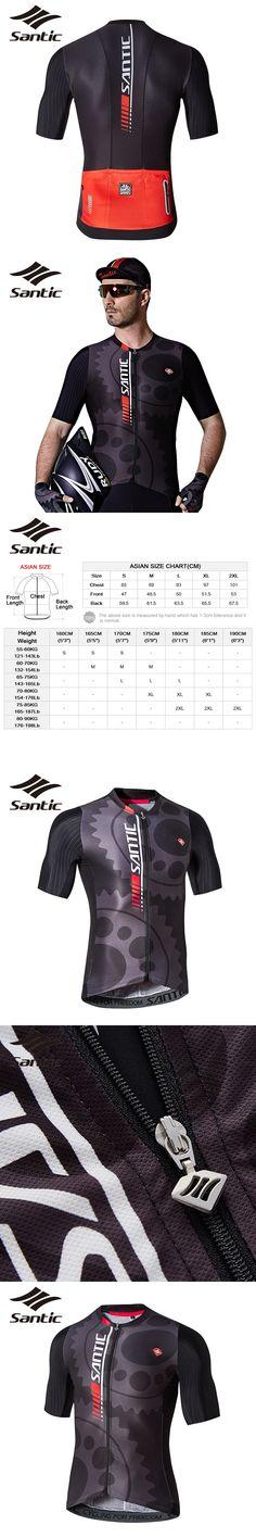 Santic Cycling Jersey Men's Designer Road Bike Windbreaker Maillot Ciclismo Short Sleeve Motocross Jersey Sky Bike Clothes 201