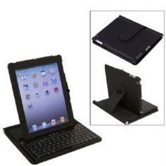 360 Degrees Rotate Protective Case With Bluetooth Keyboard for iPad 2 - Black