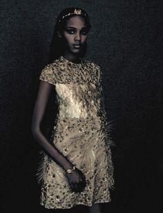 A UNIQUE STYLE - model: Leila Nda - photographer: Paolo Roversi - fashion editor: Panos Yiapanis - hair: Shuko Sumida - make-up: Val Garland - Vogue Italia September 2015 - featured designer: Valentino Couture Fall 2015