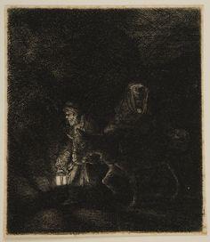 Rembrandt van Rijn – Flight into Egypt: A Night Piece, 1651, Etching | Harvard Art Museums