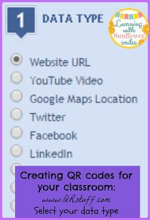 Use QRstuff.com to create QR codes.  Get some other tips for Using QR codes in the classroom - Learning with Sunflower Smiles