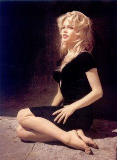 bardot in black dress