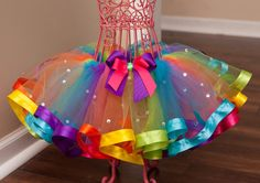 Rainbow+Bling+Ribbon+Trim+Tutu+Newborn++12+Months+by+HaloTutus,+$35.00