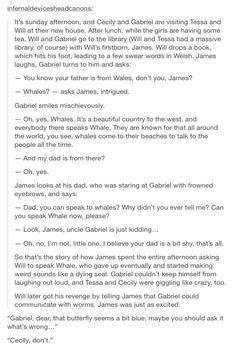"Will and Gabriel. Oh, these two. hahaha I love at the end ""Cecily, don't"". Those two Herondale siblings are sooo alike."
