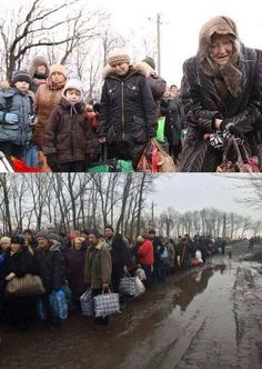 As Russians continue to shell residential areas in eastern Ukraine, people escape on foot with whatever they can carry. Early February 2015.