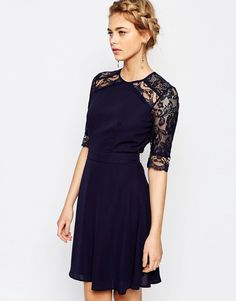 Image 1 ofElise Ryan 3/4 Sleeve Lace Midi Dress