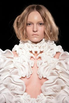 """3D printed dress by Iris van Herpen, with architect Daniel Widrig and .MGX - """"Escapism Couture"""" collection at Paris Fashion Week SS11 - photo by Michel Zoeter"""