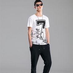 New Summer Mens Foral Number Seven Print O-neck Cotton Short Sleeve T-shirt