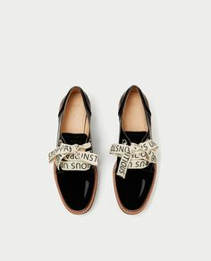 FAUX PATENT BROGUES WITH SLOGAN PRINT BOW-View all-SHOES-WOMAN | ZARA United States