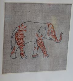 Linen elephant embroidery