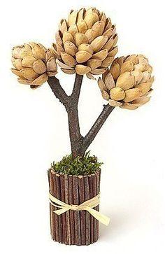 Дерево из пластилина и фисташек