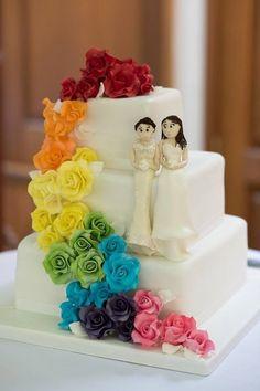 Featured Brides Jenna And Rachael. Rainbow Wedding CakesLesbian ...