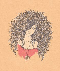 Natural hair curly drawing
