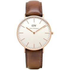 Daniel Wellington Women's Classic Rose Gold Plated Leather Strap Watch... ($240) ❤ liked on Polyvore featuring jewelry, watches, white dial watches, cream jewelry, white face watches, water resistant watches and brown wrist watch
