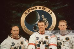 1970: Group portrait of the Apollo 14 astronauts at a prelaunch news conference, Kennedy Space Center, Cape Canaveral, Florida. L-R: Edgar J Mitchell, Alan B Shepard (1923 - 1998) and Stuart A Roosa. Apollo Space Program, Nasa Space Program, Astronauts In Space, Nasa Astronauts, Edgar Mitchell, Apollo 9, Pilot, Apollo Missions, Polka Dots
