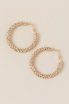 The Melanie Crystal Hoops features thick gold hoops covered with rhinestones. Cute Jewelry, Metal Jewelry, Bridal Jewelry, Dangly Earrings, Crystal Earrings, Hoop Earrings, Gold Fashion, Fashion Jewelry, Indian Jewelry Sets