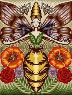 bee goddess, q. cassetti, trumansburg, new york, 2010, mixed medi   this is an inspiring image