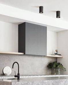 MFL By Masson Mila Round Surface Mounted Black Downlight Zen Kitchen, Concrete Kitchen, Studio Kitchen, Kitchen Island, Kitchen Ideas, Residential Interior Design, Modern Interior Design, Downlights Kitchen, Painting Kitchen Cabinets White